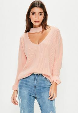 Pink V-Neck Line Choker Knitted Jumper