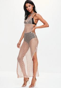 Złota dziergana sukienka maxi z rozporkami po bokach