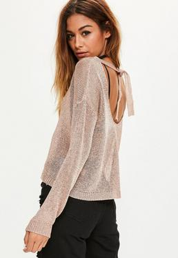 Rose Gold Tie Back Metallic Cropped Jumper