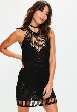 Black Harp Shoulder Crochet Mini Knitted Jumper Dress