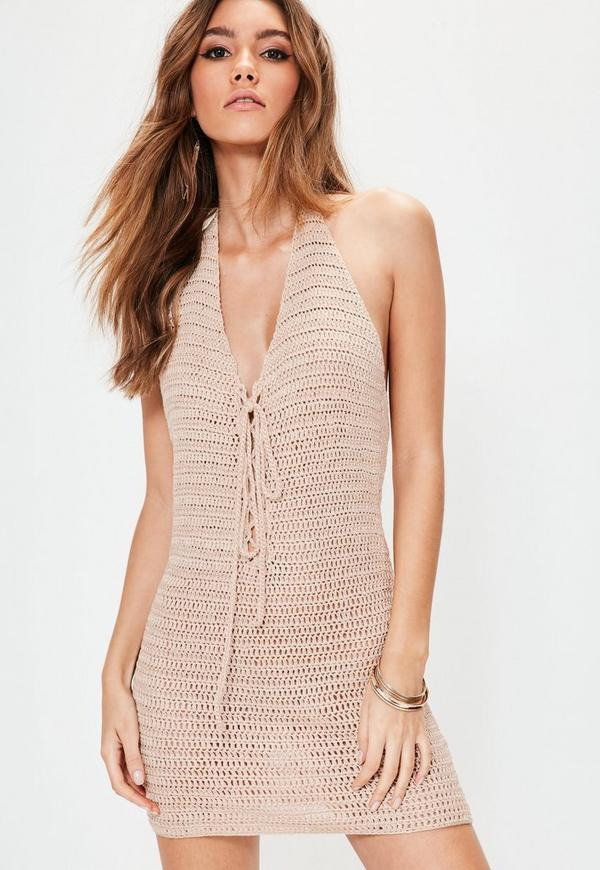 Nude Crochet Halterneck Lace Up Mini Knitted Dress