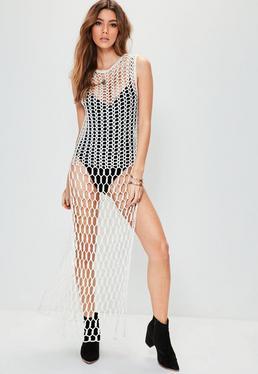 White Mix Stitch Maxi Dress