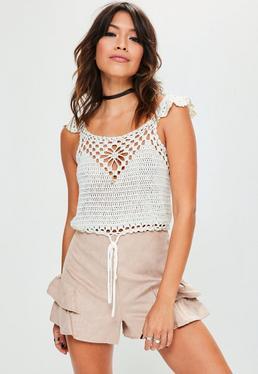 White Tie Hem Crochet Knitted Crop Top