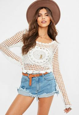 Cream Crochet Long Sleeve Floral Knitted Crop Top