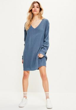 Blue Knitted V-Neck Mini Jumper Dress