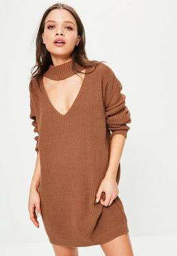 Brown Choker Neck Mini Knitted Jumper Dress