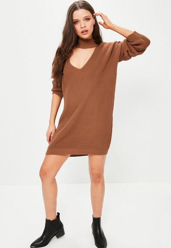 Brown Choker Neck Mini Knitted Sweater Dress | Missguided