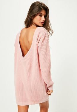 Pink V Back Knitted Mini Sweater Dress