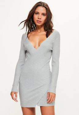 Grey Ribbed Wrap Over Mini Knitted Jumper Dress