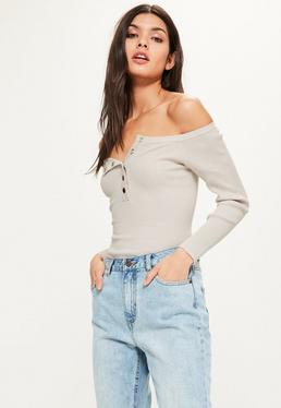 Grey Bardot Popper Ribbed Knitted Bodysuit