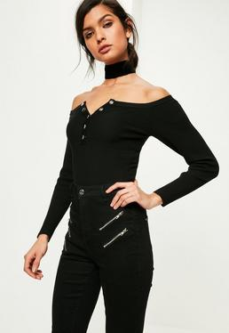 Black Bardot Popper Ribbed Knitted Bodysuit