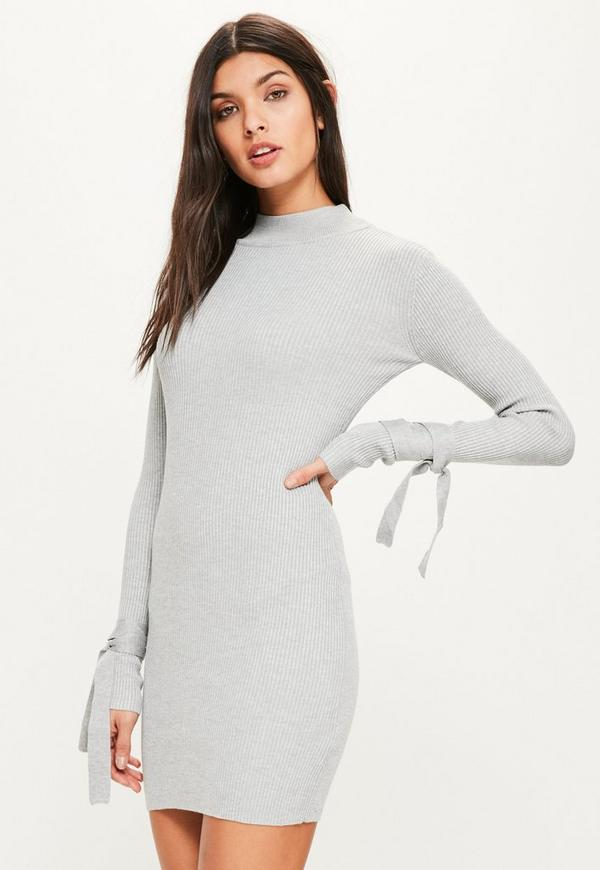 Grey Tie Sleeve Ribbed Mini Knitted Jumper Dress
