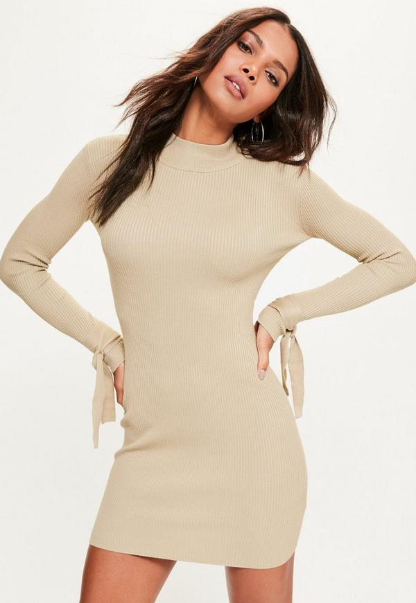 Camel Tie Sleeve Ribbed Mini Knitted Jumper Dress