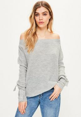 Grey Tie Sleeve Bardot Jumper