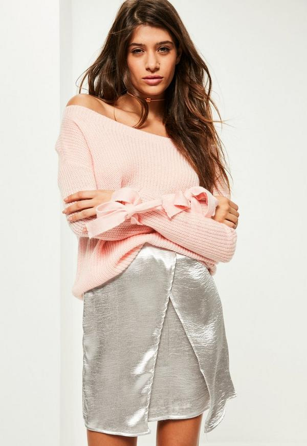 Pink Tie Sleeve Bardot Jumper