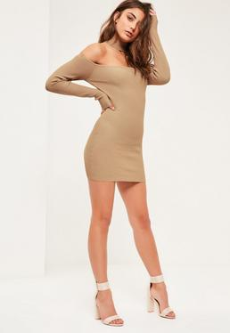 Camel Choker Ribbed Bardot Mini Jumper Dress
