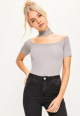 Grey Choker Ribbed Knitted Bodysuit
