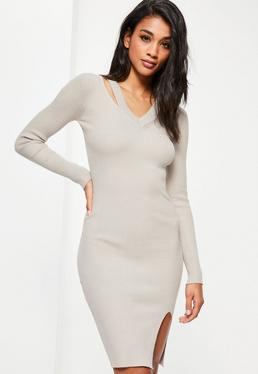 Grey Cut Out V Neck Ribbed Midi Sweater Dress