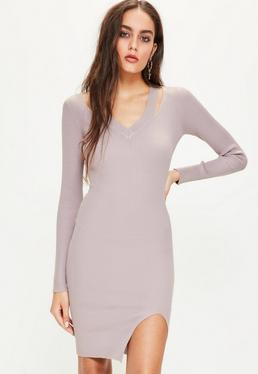 Purple Cut Out V Neck Ribbed Midi Jumper Dress