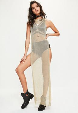 Gold Longline Metallic Side Split Tunic