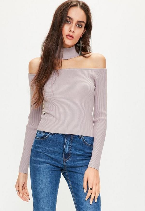Purple Ribbed Choker Neck Cropped Jumper