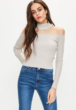 Grey Ribbed Choker Neck Cropped Jumper