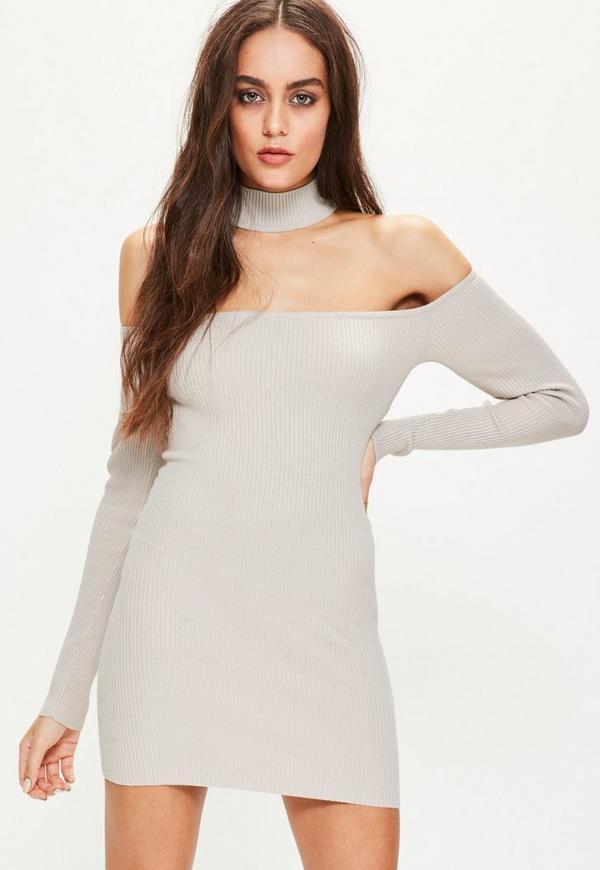 Grey Choker Ribbed Bardot Mini Jumper Dress