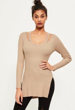 Gerippter Tunika Rippen-Strick-Pullover mit V-Ausschnitt in hellbraunem Camel