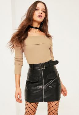 Camel Ribbed Bardot Jumper