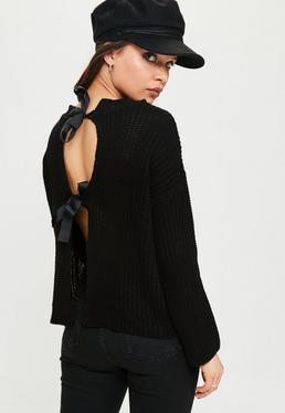 Black Bow Back Knitted Jumper