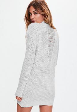 Grey Marl V Back Distressed Mini Jumper Dress