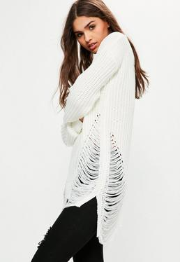 White V Neck Distressed Jumper
