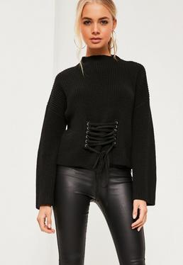 Black Extreme Sleeve Corset Funnel Neck Jumper