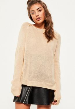 Camel Exposed Seams Raglan Jumper