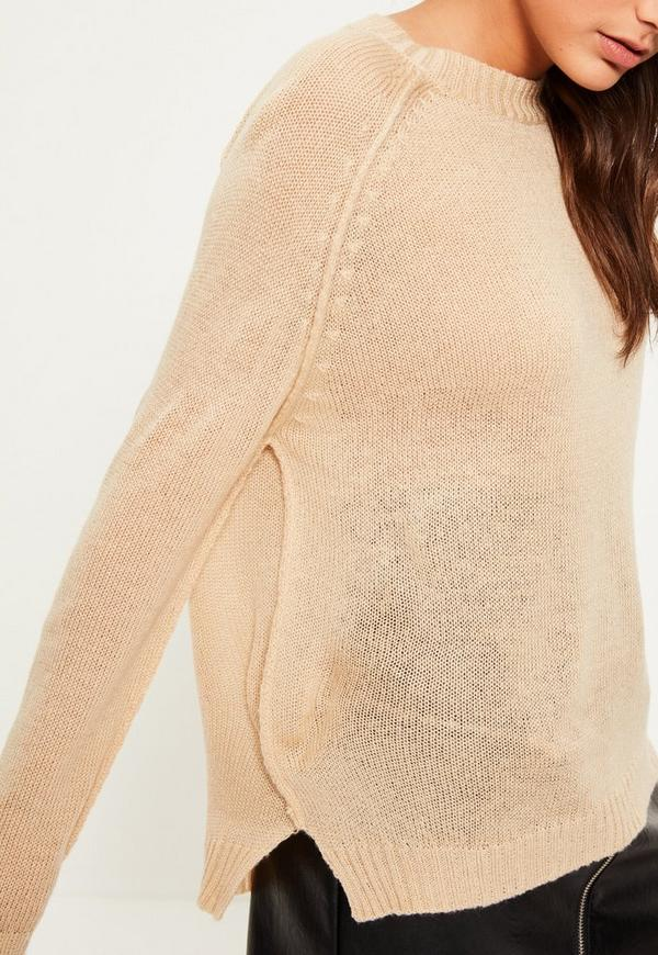 Knitting Joining Raglan Seams : Camel exposed seams raglan sweater missguided