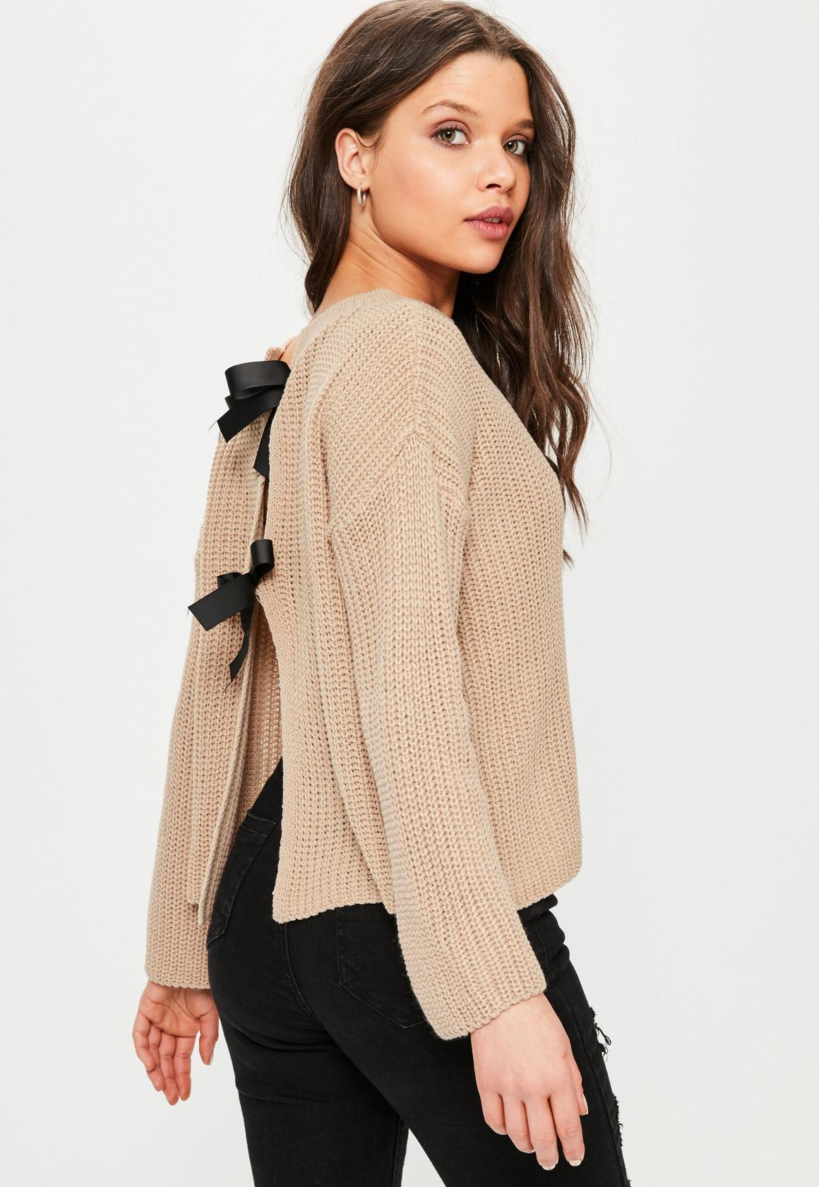 Pink Bow Back Sweater | Missguided
