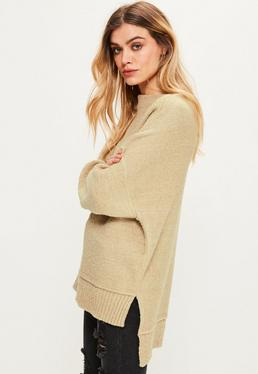 Camel Exposed Seam Sweater