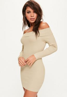 Camel Ribbed Bardot Mini Knitted Jumper Dress