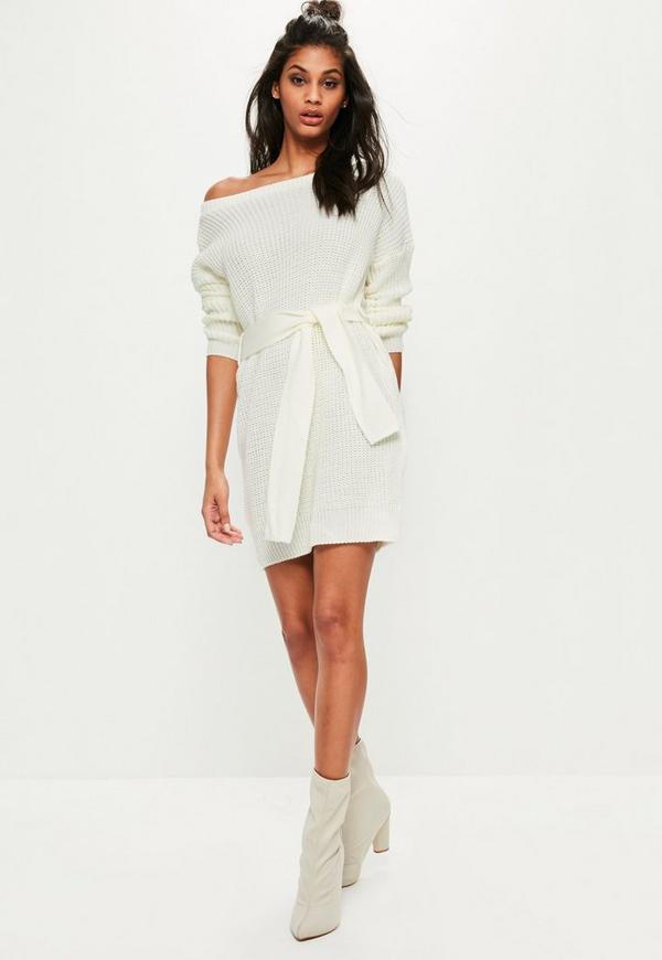 shoulder belted sweater dress missguided