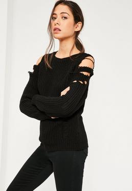 Black Distressed Cold Shoulder Jumper Black