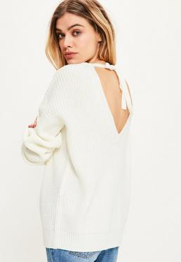 White Tie Back Plunge Sweater