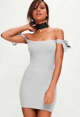 Szara sukienka swetrowa mini bardot z wiązaniami