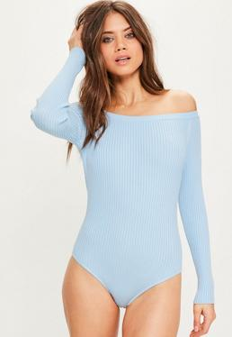 Blue Ribbed Bardot Knitted Bodysuit