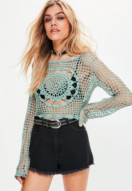 Green Crochet Long Sleeve Floral Knitted Crop Top