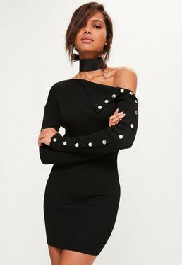 Black Button Sleeve Mini Sweater Dress