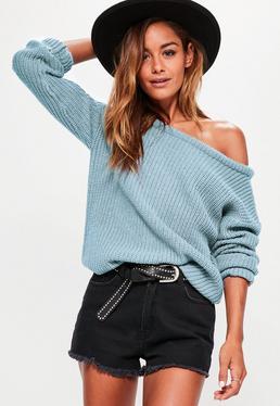 Blue Off Shoulder Knitted Jumper