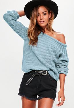 Blue Off Shoulder Knitted Sweater