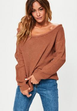 Tan Off Shoulder Knitted Jumper