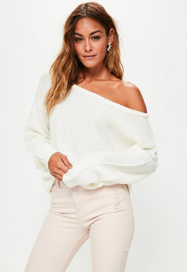 Cream Off Shoulder Knitted Jumper