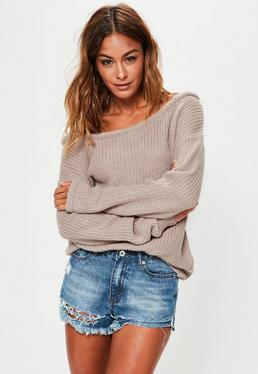 Brown Off Shoulder Knitted Sweater